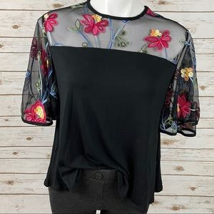 Kim & Cami Embroidered Floral Accent Black Top